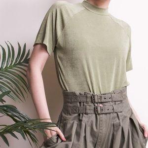 Vintage 90s moss green mock neck slink T-shirt top